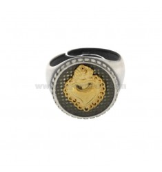 RING 18 MM BACK WITH SURROUND SILVER SILVER BRUSHED AND PLATED GOLD TIT 925 ‰ REGULATED MEASURE FROM 18