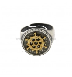 RING WITH MM 18 WITH STAINLESS STEEL SILVER AND PLATED GOLD TIT 925 ‰ ADJUSTABLE MEASURE FROM 18
