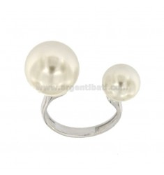 RING WITH PERLE MM 10 AND 14 IN SILVER REDUCED TIT 925 ‰ REGULATED MEASURE FROM 15