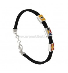 BLACK ROPE BRACELET WITH NAUTICAL FLAGS SILVER REDUCED TIT 925 ‰ CM 19-21