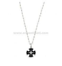 SAURO CHAIN ??WITH CROSS SQUARE PENDANT SILVER RODIATO AND SMALTATO TIT 925 ‰ AND ZIRCONE CM 50