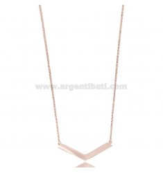 ROLO NECKLACE WITH CENTRAL V IN COPPER SILVER TIT 925 ‰ CM 45