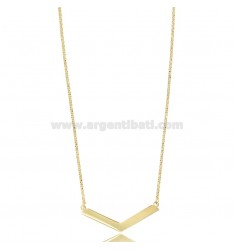 ROLO NECKLACE WITH CENTRAL V IN SILVER GOLDEN TIT 925 ‰ CM 45