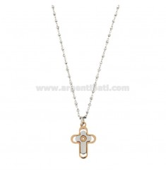 SAURO CHAIN ??WITH CROSS PENDANT SILVER RODIATED AND REDUCED TIT 925 ‰ AND ZIRCONE CM 50