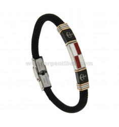 BLACK ROPE BRACELET WITH NAUTICAL FLAG AND STEEL TRICOLOR BRACKET AND SMALTO CM 21