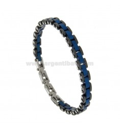 STEEL BRACELET BLACK AND BLUE CERAMICS CM 21
