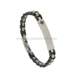 STEEL AND CERAMIC BRACELET WITH PENCIL AND RED WATER CM 21
