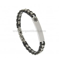 STEEL AND CERAMIC BRACELET WITH TARGA AND TIMONE CM 21