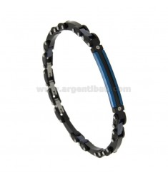 STAINLESS STEEL BRACELET RUTENY AND CERAMIC STEEL WITH CENTRAL PLATE AND ZIRCONI CM 21