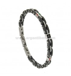 STAINLESS STEEL AND CERAMIC STAINLESS STEEL BRACELET WITH RED CENTRAL VENT AND SMALTATE BANDIERS CM 21