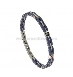 STAINLESS STEEL AND CERAMIC BRACELET WITH CENTRAL BACKGROUND AND SMALL BANDIERS CM 21