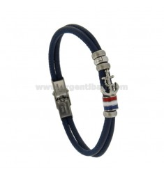 STAINLESS STEEL BRACELET BLUE LEATHER WITH CENTRAL SMALTATE LENGTH AND BANDIER CM 21