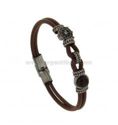 STAINLESS STEEL BRACELET BROWN LEATHER WITH TIMONE AND CENTRAL STONES CM 21