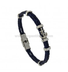 STEEL BRACELET BLUE LEATHER AND CENTRAL ANCHOR CM 21