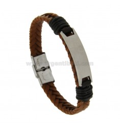 STAINLESS STEEL BRACELET CLOTHING LEATHER AND CENTRAL TARGA CM 21