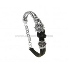 VENETIAN VENETIAN BRACELET WITH ROSE OF THE WINDS AND CENTRAL CROSS IN BRUNITO STEEL AND LEATHER CM 21