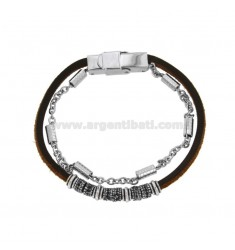 2-WIRE BRACELET IN LEATHER AND BRUNITO STEEL