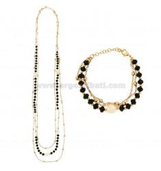 Halskette CM 85 und Armband CM 18-20 3-Draht mit Steinen und Perlen in Messing