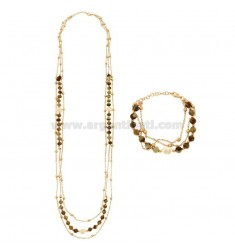 NECKLACE CM 85 AND BRACELET CM 18-20 3-WIRE WITH STONES AND PEARLS IN BRASS