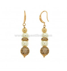 PENDANT EARRINGS WITH MM 9 PENDANTS AND BRUSHES WITH BRASS ZIRCONES