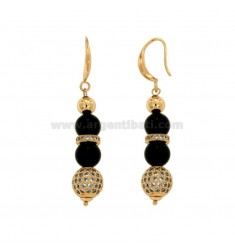 PENDENT EARRINGS WITH BLACK AGATA BLACK MM 9 AND BRASS BRAKES