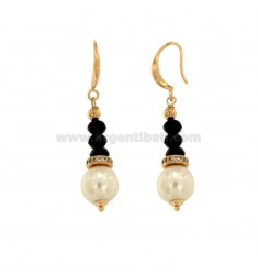 PENDENT EARRINGS WITH BLACK AGATE WASHER WASHERS PENCILS AND BRUSHES WITH BRASS ZIRCONS