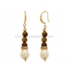 PENDENT EARRINGS WITH STONE BEAD AND BRASS BEAMS WITH BRASS ZIRCONES