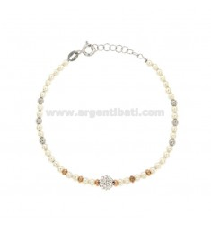 MM 3 MM BERRY BRACELET AND BALL WITH STRASS SILVER RED AND TIT 925 CM 17-19