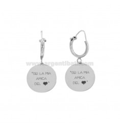 EARRINGS WITH CYLINDER MM 10 WITH PINK MEDIUM MEDIUM YOU ARE MY FRIEND IN SILVER REDIED ??TIT 925