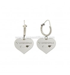 EARRINGS WITH CYLINDER MM 10 WITH HEART HEART PENDANT THE ESSENTIAL IS THE SILVER HEART REDUCED TIT 925