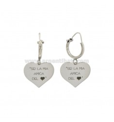 EARRINGS WITH CYLINDER MM 10 WITH HEART HEART PENDANT YOU MY FRIENDS IN SILVER REDUCED TIT 925