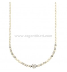 COLLIER CON PERLINE MM 3 E SFERA CON STRASS IN ARGENTO RODIATO TIT 925 CM 40-43