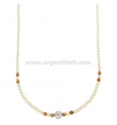 COLLIER CON PERLINE MM 3 E SFERA CON STRASS IN ARGENTO RODIATO E RAMATO TIT 925 CM 40-43
