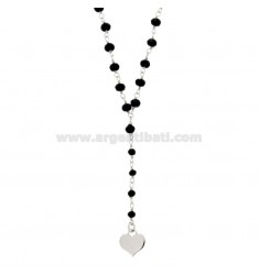 WEDDING NECKLACE WITH 2 WIEN STONES WITH STARS AND HEART IN SILVER REDUCED TIT 925 ‰ CM 42-53