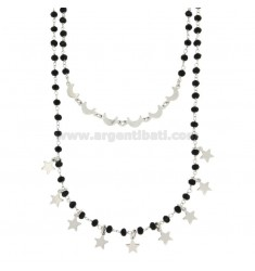 NECKLACE WITH 2 WIEN STONES WITH STARS AND MONTHS IN SILVER REDUCED TIT 925 ‰ CM 42-53