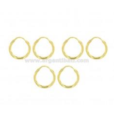 CIRCUIT EARRINGS EARRINGS MM 2 DIAMETER MM 12 COUPLES 3 IN SILVER GOLDEN TIT 925 ‰