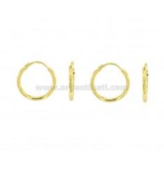 EARRINGS CIRCLE ROD MM 2 DIAMETER MM 15 COUPLES 2 SILVER GOLDEN TIT 925 ‰