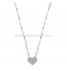 NECKLACE WITH BARON CUISINE AND HEART PENDENT LOVE SILVER REDUCED TIT 925 ‰ CM 45-48