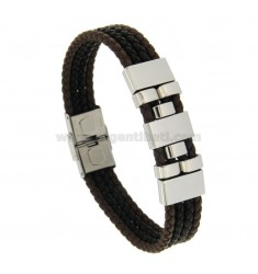 4 WIRE LEATHER AND STEEL BRACELET BRACELET CM 21