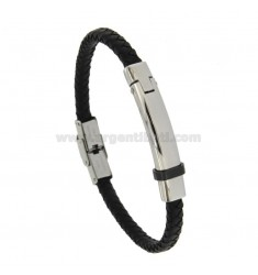BRUSHED LEATHER BRACELET MM 8 WITH STAINLESS STEEL WITH RUTENY PLATED CM 21