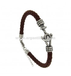 LEATHER STAINLESS STEEL BRACELET MM 6 AND CENTRAL STAINLESS STEEL BRUNITO CM 21