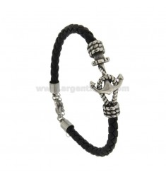BRAZALETE DE CUERO NEGRO MM 6 Y ACERO INOXIDABLE CENTRAL BRUNITO CM 21