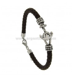 BROWN LEATHER BRACELET MM 6 AND STAINLESS STEEL BRIDGE CM 21