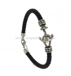 BLUE LEATHER MM 6 BRACELET AND STAINLESS STEEL BRACKET BRACELET CM 21