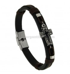 LEATHER BRACELET WITH STAINLESS STEEL CROSS CROSS CM 21