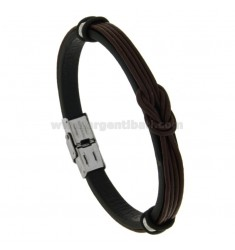 LEATHER BRACELET WITH CENTRAL NODE AND STEEL CM 21