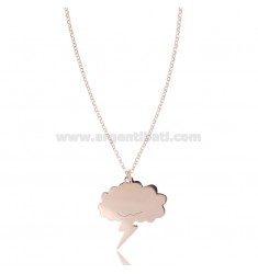 ROLO NECKLACE WITH CLOUD WITH LIGHTNING PENDANT IN COPPER SILVER TIT 925 ‰ CM 40-45