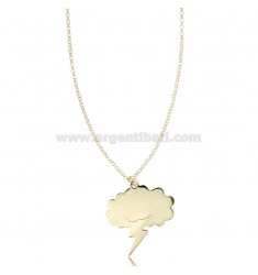 ROLO NECKLACE WITH CLOUD WITH LIGHTNING PENDANT IN SILVER GOLDEN TIT 925 ‰ CM 40-45