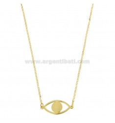 NECKLACE ROLO 'WITH EYE PENDANT SILVER GOLDEN TIT 925 ‰ CM 40-45