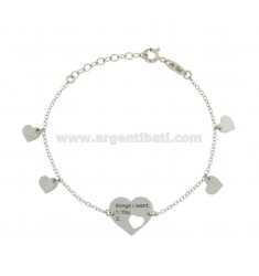 BRACCIALE ROLO' CON CUORI THINGS I WANT 1 YOU 2 CUORE IN ARGENTO RODIATO TIT 925 CM 16-20